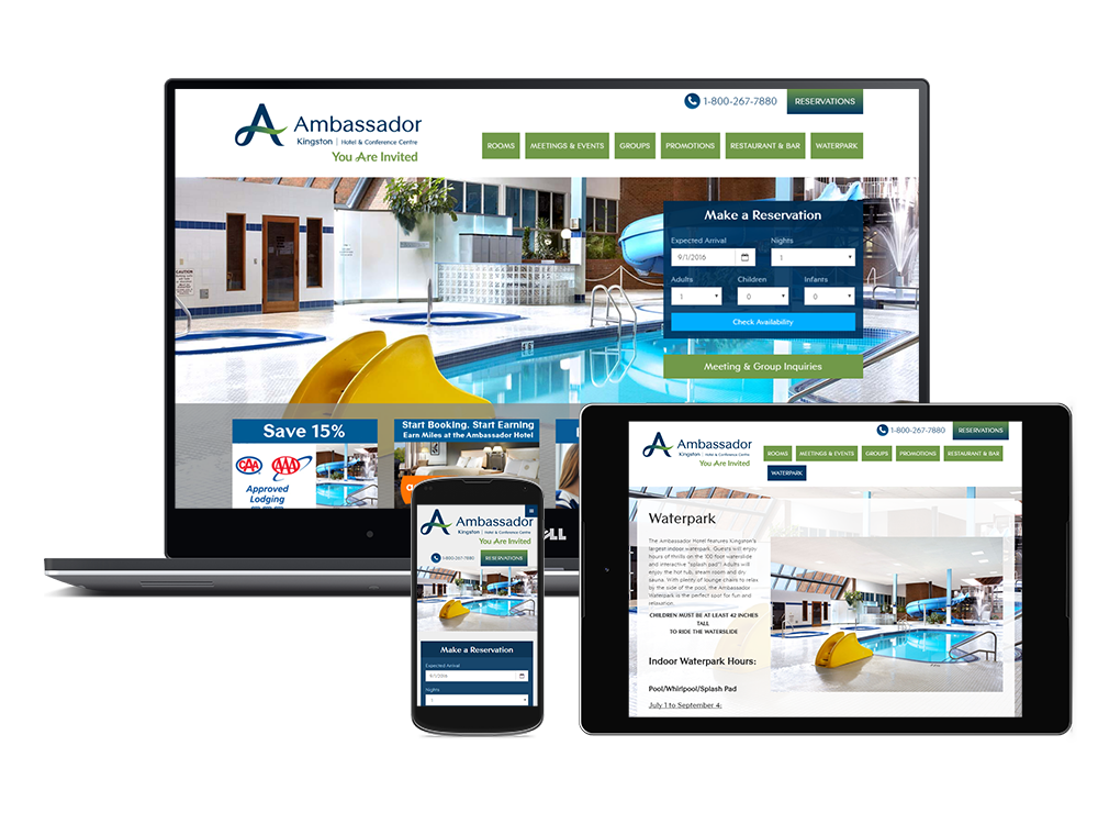 Ambasador Hotel's Website on multiple devices