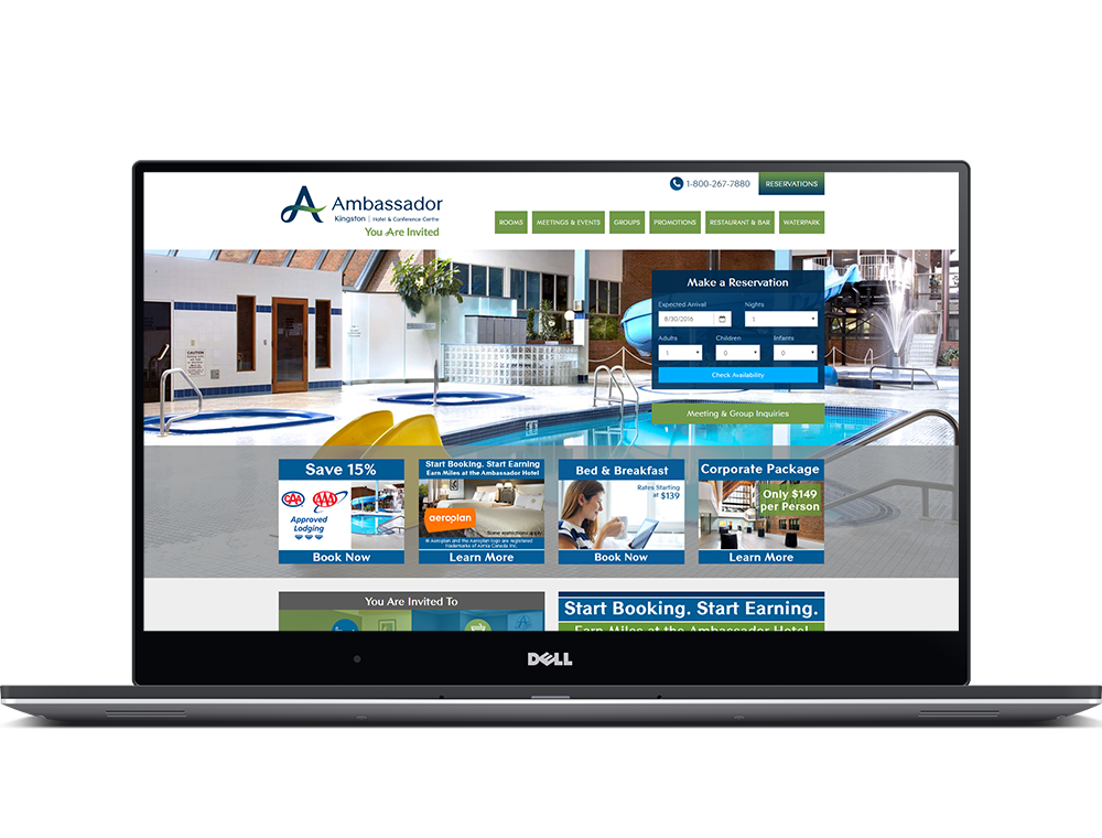 The Ambassador Hotel website on a laptop