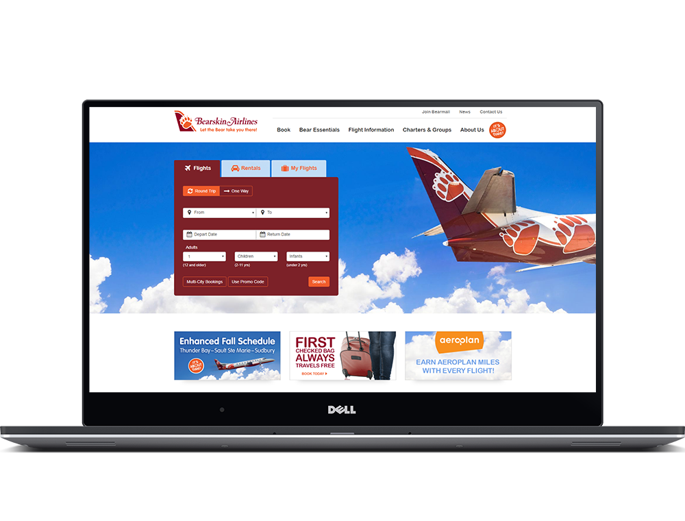 Bearskin Airlines Website on a laptop