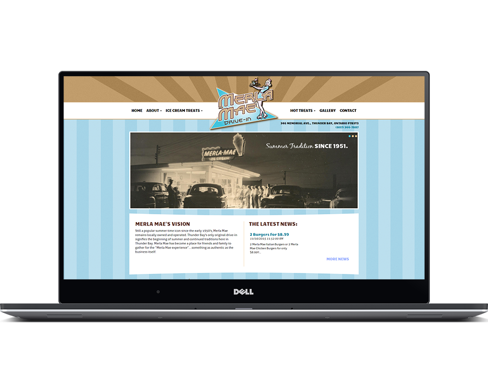 Merla Mae's website viewed in a laptop